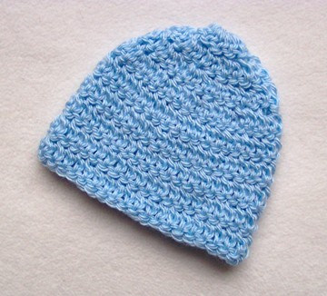 Free Easy Plain Crochet Newborn Beanie Hat Pattern